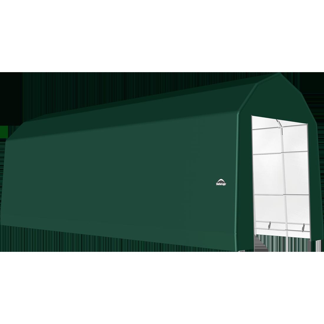 ShelterTech SP Series Barn Shelter, 15 ft. x 48 ft. x 17 ft. Heavy Duty PVC 14.5 oz. Green