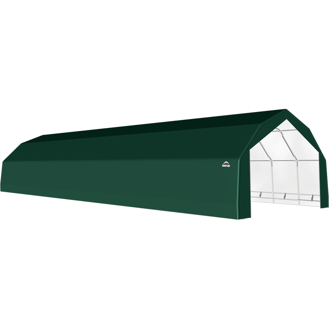 SP Barn 20X64X12 Green 14 oz PE Shelter