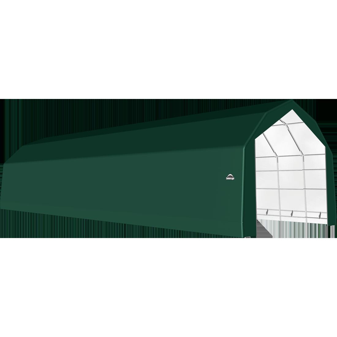 SP Barn 20X64X15 Green 14 oz PE Shelter