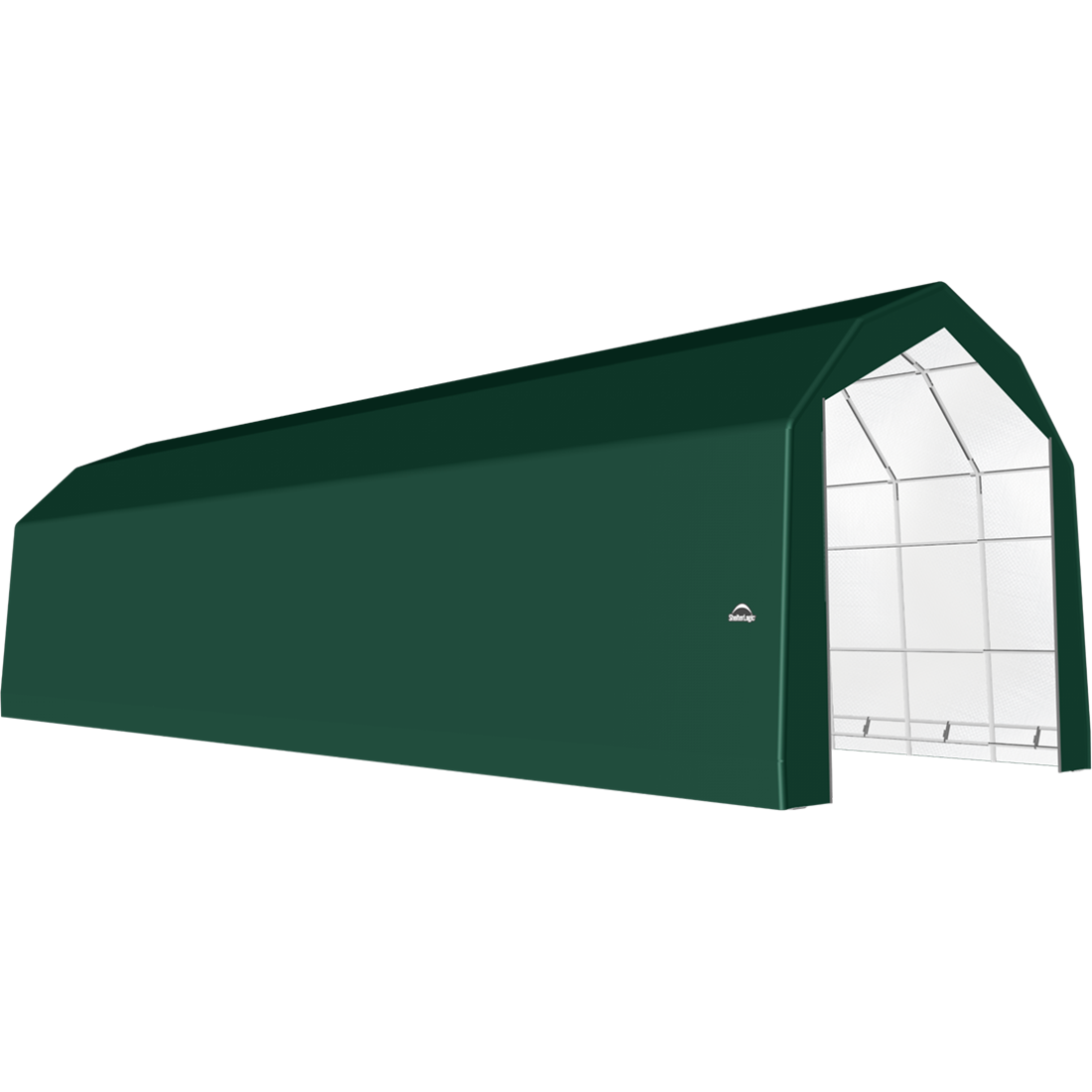 ShelterTech SP Series Barn Shelter, 20 ft. x 68 ft. x 18 ft. Heavy Duty PVC 14.5 oz. Green