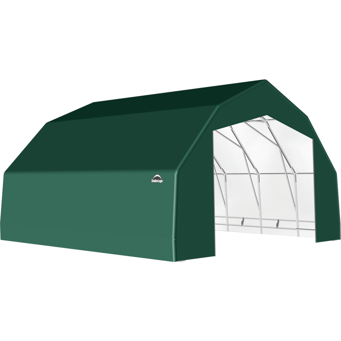 SP Barn 25X28X14 Green 14 oz PE Shelter