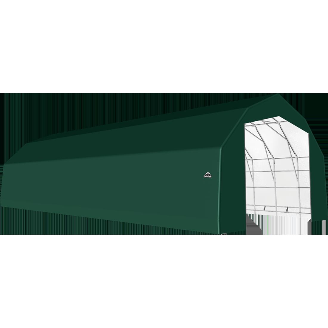 SP Barn 25X64X17 Green 14 oz PE Shelter