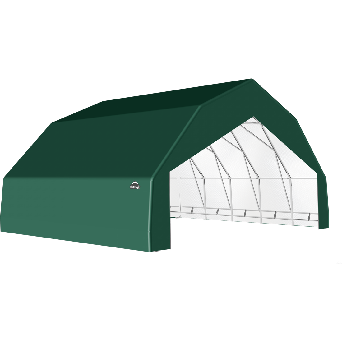 SP Barn 30X24X15 Green 14 oz PE Shelter