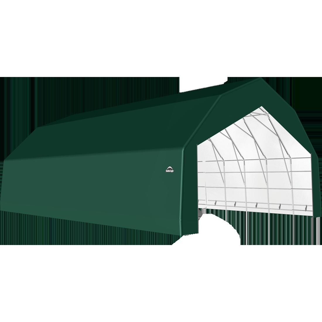 SP Barn 30X32X18 Green 14 oz PE Shelter
