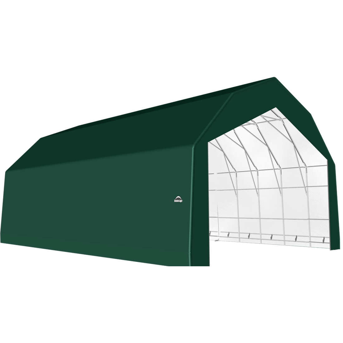 ShelterTech SP Series Barn Shelter, 30 ft. x 36 ft. x 21 ft. Heavy Duty PVC 14.5 oz. Green